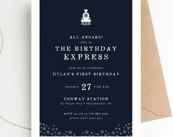 All Aboard The Birthday Express, Winter Train Party Invitation, Holiday Birthday Party, Hot Chocolate Milk and Cookies, Christmas Birthday