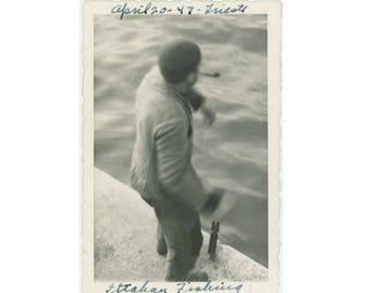 "Vintage Photo Snapshot: ""Some Italian Fishing"" Trieste, 1947 (77591)"