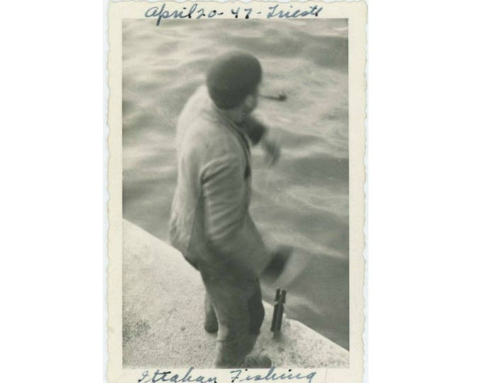 "Vintage Photo Snapshot: ""Some Italian Fishing"" Trieste, 1947 (77591)"