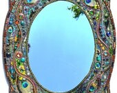 Custome order for Friedrich - Mosaic peacock mirror - mosaic art, Real peacock feather inlays