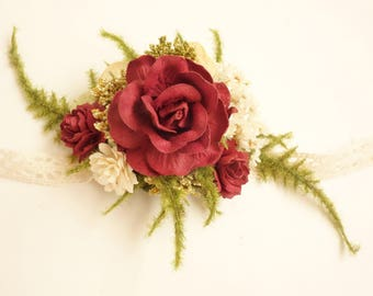 Wrist Corsage, Prom Corsage, Winter Wedding, Burgundy Corsage, Mother of the Bride, Dried Flower Corsage, Wedding Corsage, BURGUNDY ROSE