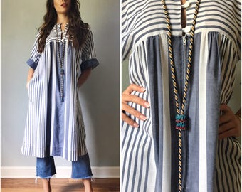 Vintage 80s Striped Cotton Tunic