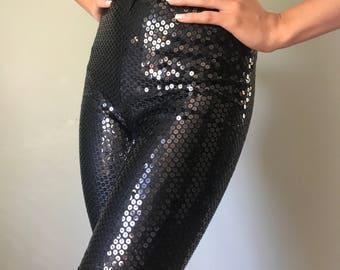 Vintage 80s Black Escada Sequin Shorts