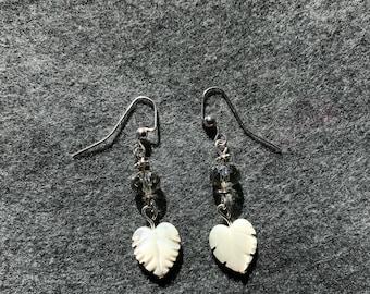 White feather drop earrings