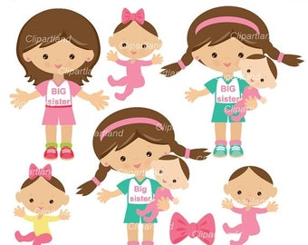 ON SALE INSTANT Download. Cbs_1_Big_sister. Big sister clip art. Girl clipart. Personal and commercial use.