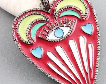 Pave Diamond Pendant, Pave Diamond Enamel Heart Pendant, Designer Enamel Pendant, Enamel Heart Pendant, (DP-1464-R)