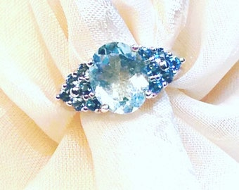 Aquamarine And Tanzanite Ring or Engagement Ring Handmade Jewelry by NorthCoastCottage Jewelry & Vintage Treasures