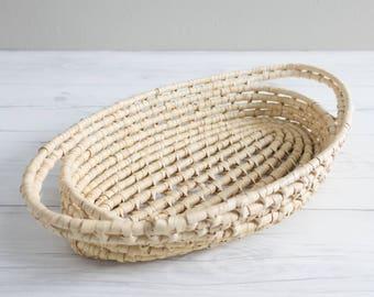 Vintage Wicker Tray Oval Basket