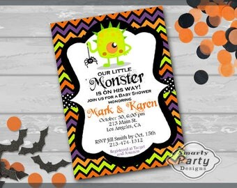 Halloween Little Monster Boy Baby Shower Invitations Invite You Print Personalized Chevron Customized 5x7 or 4x6