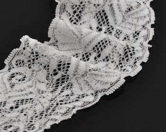 50 cm of elastic lace, 6 cm wide, white color perfect for customization or customisaion and of course, sewing, haberdashery