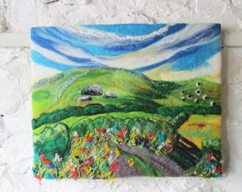 felt painting, wet felted wall art on canvas