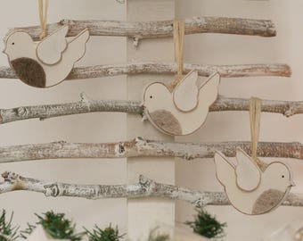 3 BIRDS ROBINS felt chest-wood to hang with 3-piece kit
