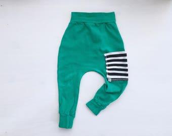 Baby Harem Pants   Grow With Me Pants   Baby Harems   Baby Joggers   Hipster Baby Pants   Toddler Harem Pants   Emerald Pocket Baby Harems