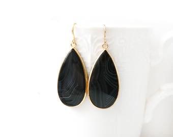 Polished Gold Plated Teardrop Black Agate Earrings