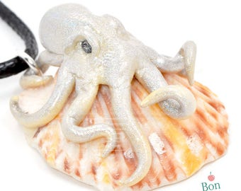 Light Gold and Holographic Octopus on Peach Red White Orange Seashell, Polymer Clay Octopus Jewelry, Seashell Pendant