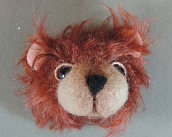 Pin/Brooch Artist Teddy Bear head, Copper and tan, OOAK mohair and needle felted face