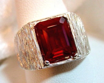 10x8 Ruby Ring (Lab Created) 925 Sterling Silver Ring, Size 10