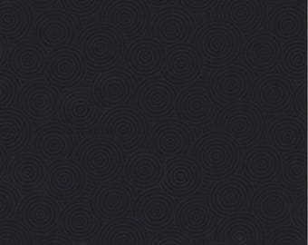 Timeless Treasures Fabric, Frosting (Hue), Dotted Circles, Gray Circles on Black, 100% cotton