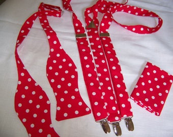 MENS SUSPENDERS - Bright Red with White Polka Dots