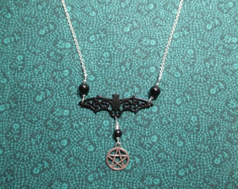 Black Bat Pentagram Necklace