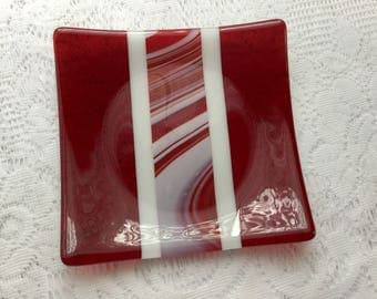 Fused Glass Plate, Red White Art Glass Dish, Red White Glass Serving Plate