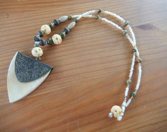 Handmade Beaded Necklace with Wood and Metal Pendant - Green, Brown, Cream - Earthy, Natural, Hippie, Bohemian, Gypsy, Boho, Nature