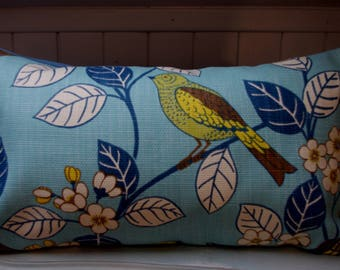 Bohemian decor cushion, bird, turquoise blue and mustard yellow...