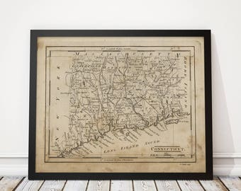 Old Connecticut Map Art Print 1816 Antique Map Archival Reproduction