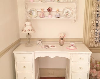 Forever Pink - Antique White Beaded Desk