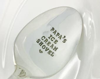 Papa's Ice Cream Shovel Stamped Spoon, Gift for Dad, Gift for Papa, Gift for Grandpa, Gift for Him, Papa's Ice Cream Spoon