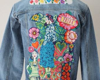 Women's Frida Embellished Denim Jean Jacket / Funky Boho Chambray Coat / Reloved Clothing Co