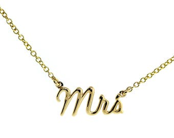 """Mrs. Necklace, 0.75 Inch Wide, 18"""" Inch Chain in 14K Yellow Gold"""