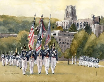West Point Color Guard on the Plain Limited Edition Print, The Academy, USMA, US Military Academy, The Point, US Army Cadets, Black Knights