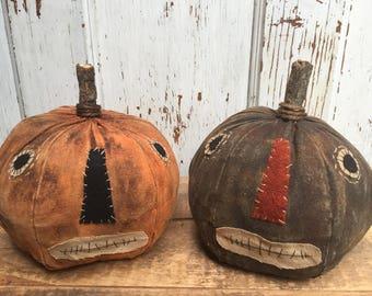Primitive Grungy Folk Art ~ Jack-O-Lantern Pumpkin Set~Hafair Team