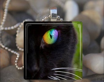 10% OFF JUNE SALE : Black Cat Eye Kitty Cat Green Eye Glass Tile Pendant Necklace Keyring
