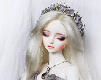 Silver Breath flower handmade headband wreath corolla for bjd dollfie sd 7-9 inch size dolls heads pullip taeyang