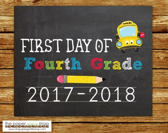 First Day of Fourth Grade Sign | Chalkboard Sign | First Day of School Sign | Back to School Printable | Fourth Grade | Photo Prop