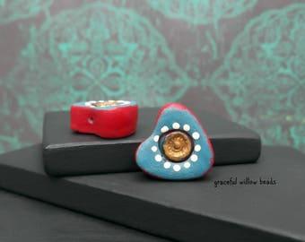 Teal Red Bronze Ivory Polka Dot Polymer Heart Bead - Bohemian Romance Earring Bead Pair - 14x14mm - Pkg. 2