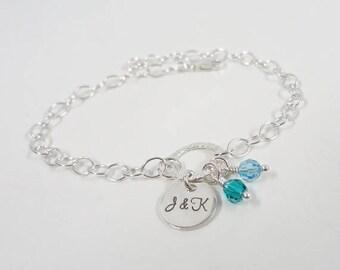 SALE - Hand Stamped Sterling Silver Initial Bracelet with Swarovski Crystal Birthstones