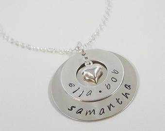 SALE - Hand Stamped Personalized Necklace - Keepsake Jewelry - Mommy Necklace - Sterling Silver Layered Disc Necklace