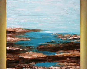 SALE Original Abstract  Seascape Aqua    Heavy Impasto  Palette Knife  Modern Art  Painting . Size 40 x 30.
