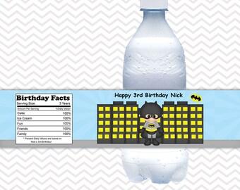 Batman Superhero - Personalized Water bottle labels - Set of 5 Waterproof labels