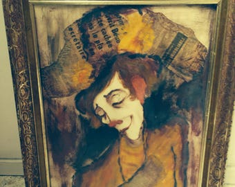 Listed Roger Etienne French Clown Painting