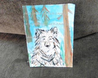 Hand Painted Timber Wolf, wildlife art, wolf wall art, origianl painting, miniature. collectable card, Fine Art Watercolor by HikingTrails