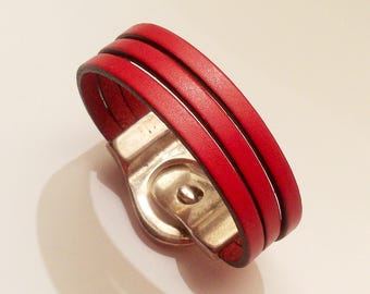 red leather with silver belt magnetic clasp bracelet