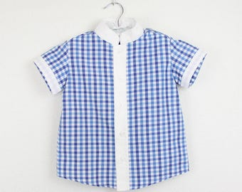 Boys short Sleeve  Mao Shirt  - Blue gingham mao shirt - White mao collar