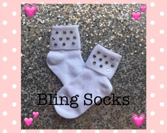 Rhinestone Socks *Infants Socks* Toddler Socks *Glitzy Socks*Bling Socks*Socks*Girls Socks*Beauty Pageant Socks*Custom Socks*