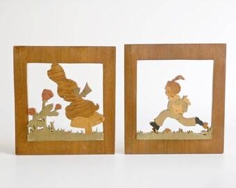 Vintage Marlow Woodcuts Silhouettes  Set of 2, Vintage Nursery Wall Decor, Childs Room Wall Art, Margaret Lowe-Burke