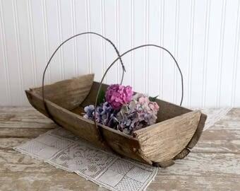 Vintage Wooden Flower Trug, Primitive Flower Trug, Barrell Trug, Rustic Trug, Rustic Garden Decor, Rustic Farmhouse Decor