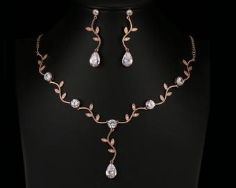 vine wedding necklace rose gold bridal jewelry set rose gold wedding jewelry set rose gold necklace pearl drop bridal necklace rose gold